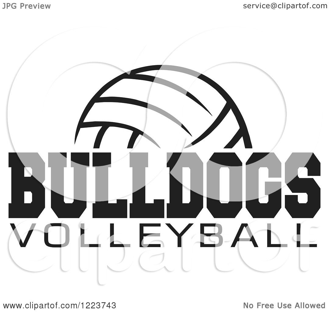 Clipart Of A Black And White Ball With Bulldogs Volleyball