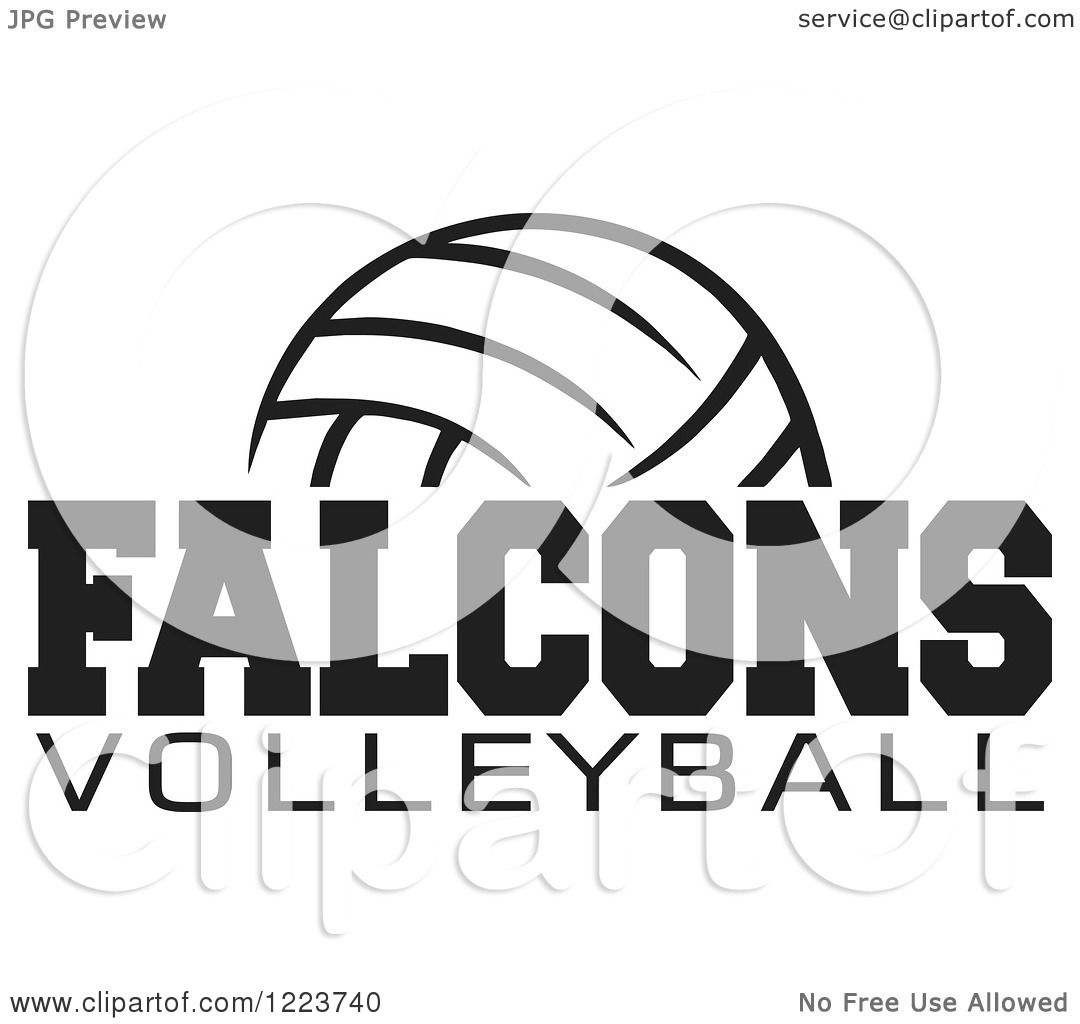 Clipart Of A Black And White Ball With Falcons Volleyball