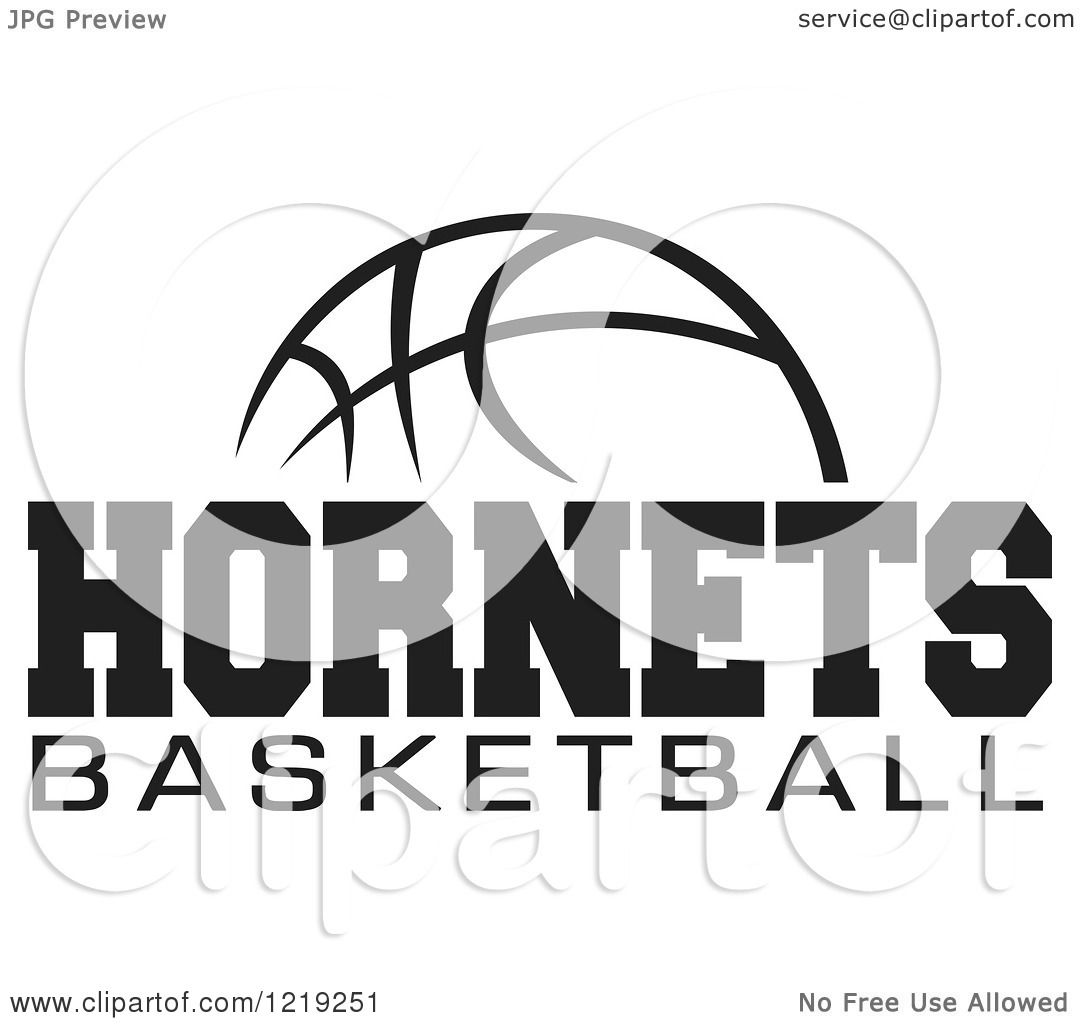Clipart Of A Black And White Ball With Hornets Basketball Text