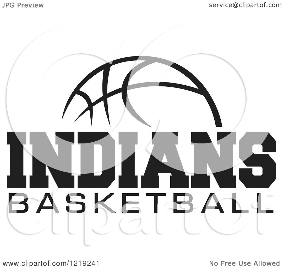 Clipart Of A Black And White Ball With Indians Basketball