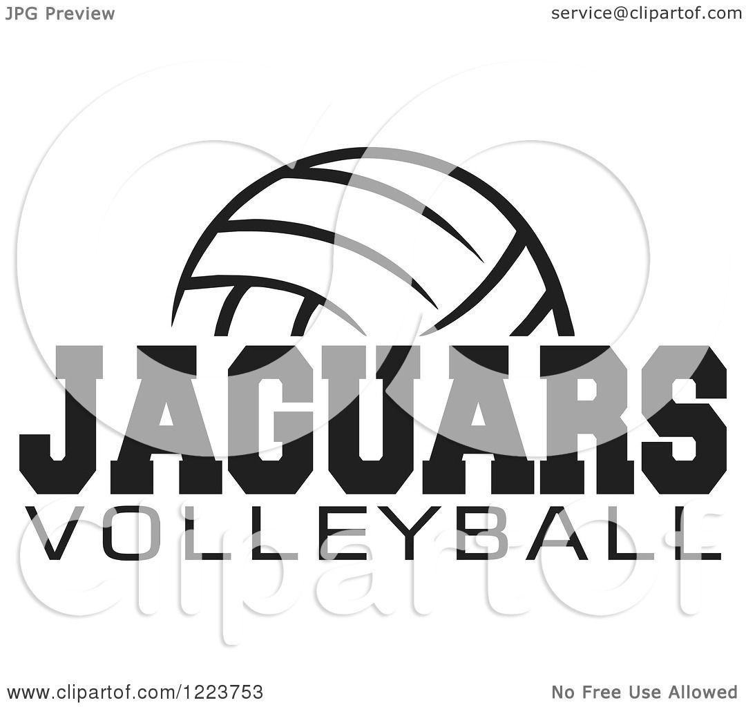 Clipart Of A Black And White Ball With Jaguars Volleyball