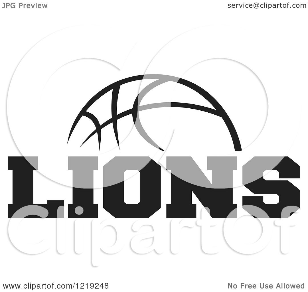 Clipart Of A Black And White Ball With Lions Basketball