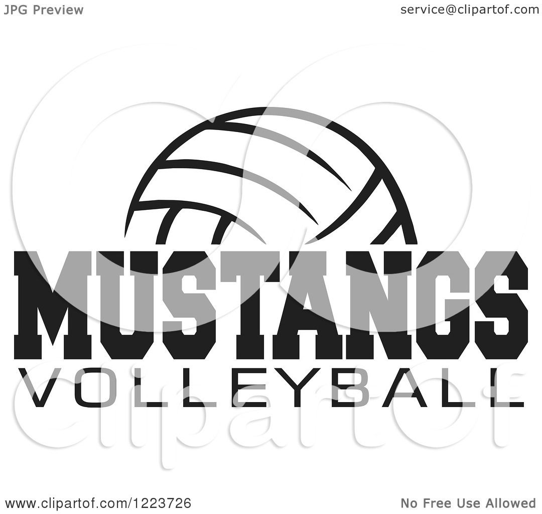 Clipart Of A Black And White Ball With Mustangs Volleyball
