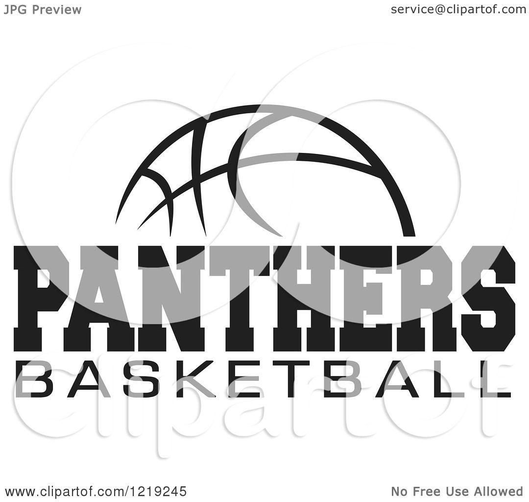 Clipart Of A Black And White Ball With Panthers Basketball Text