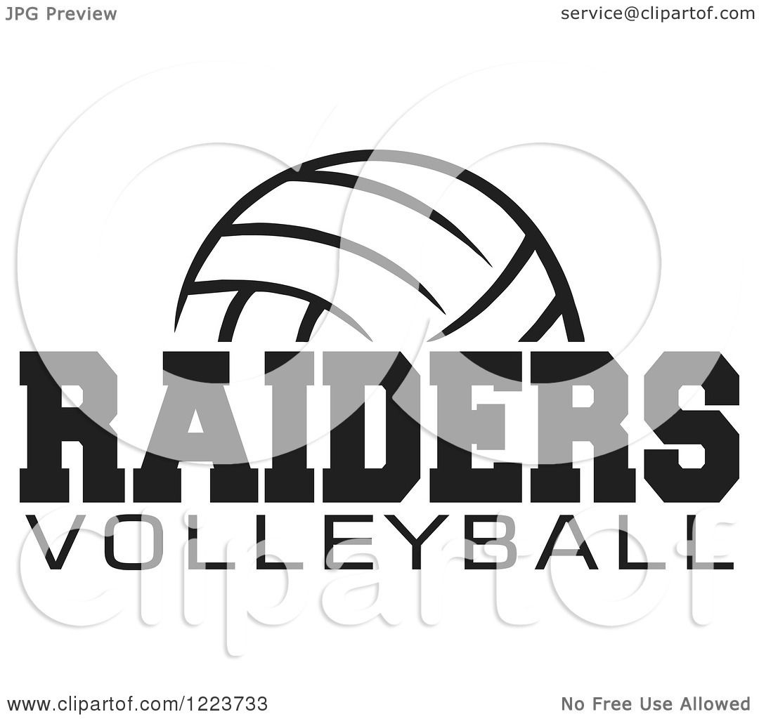 Clipart Of A Black And White Ball With Raiders Volleyball