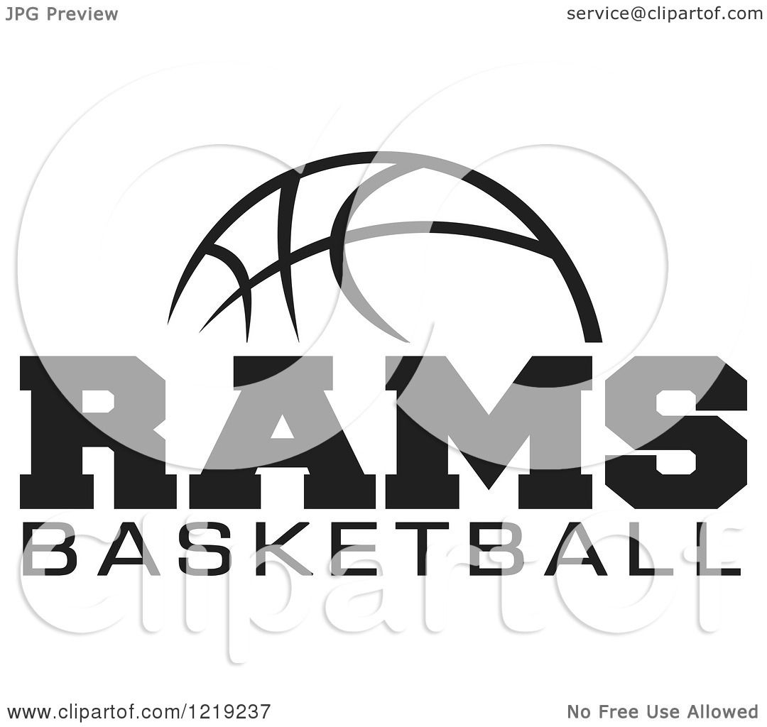 Clipart Of A Black And White Ball With Rams Basketball Text