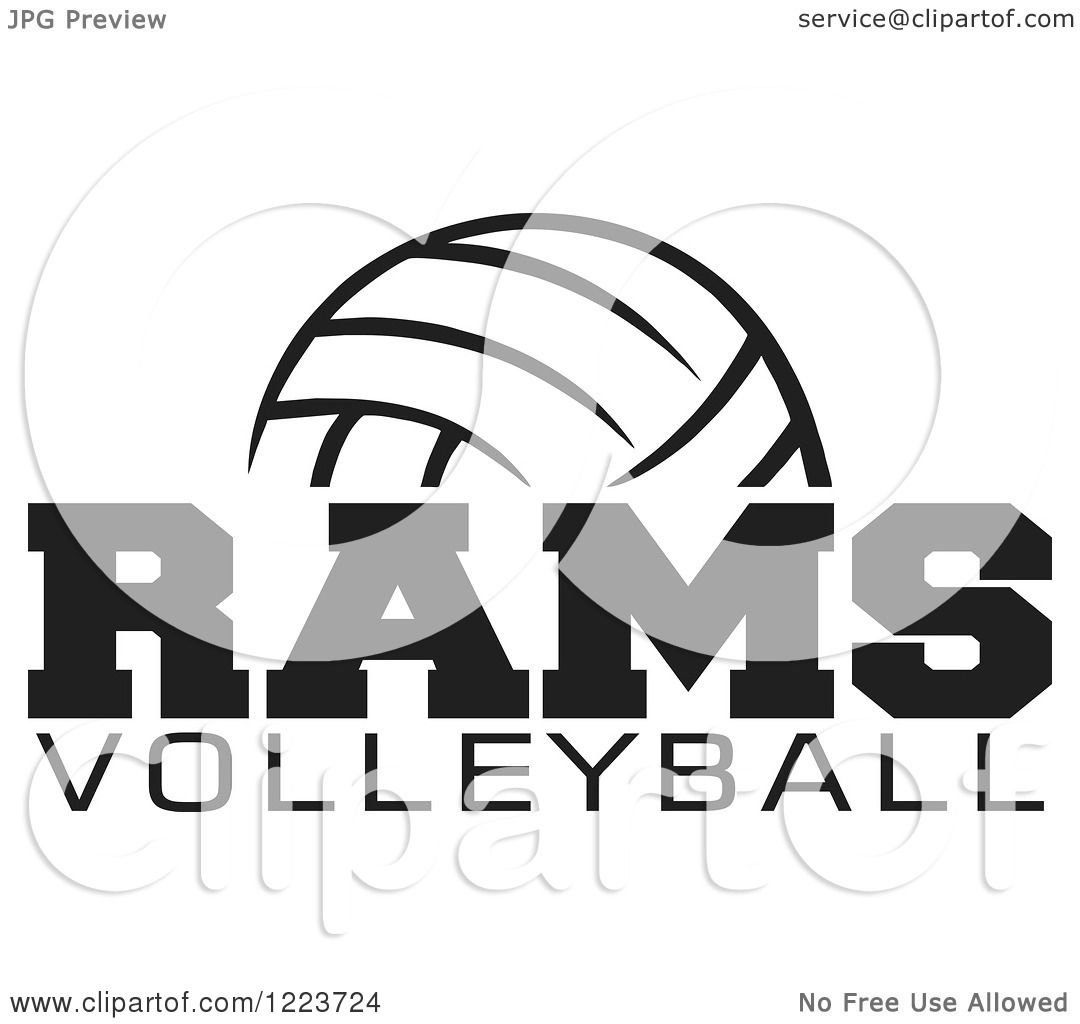 Clipart Of A Black And White Ball With Rams Volleyball