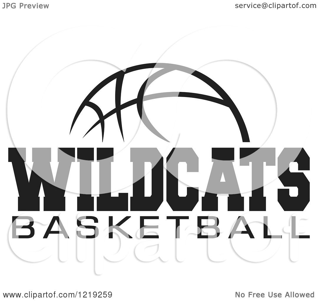 Clipart Of A Black And White Ball With Wildcats Basketball