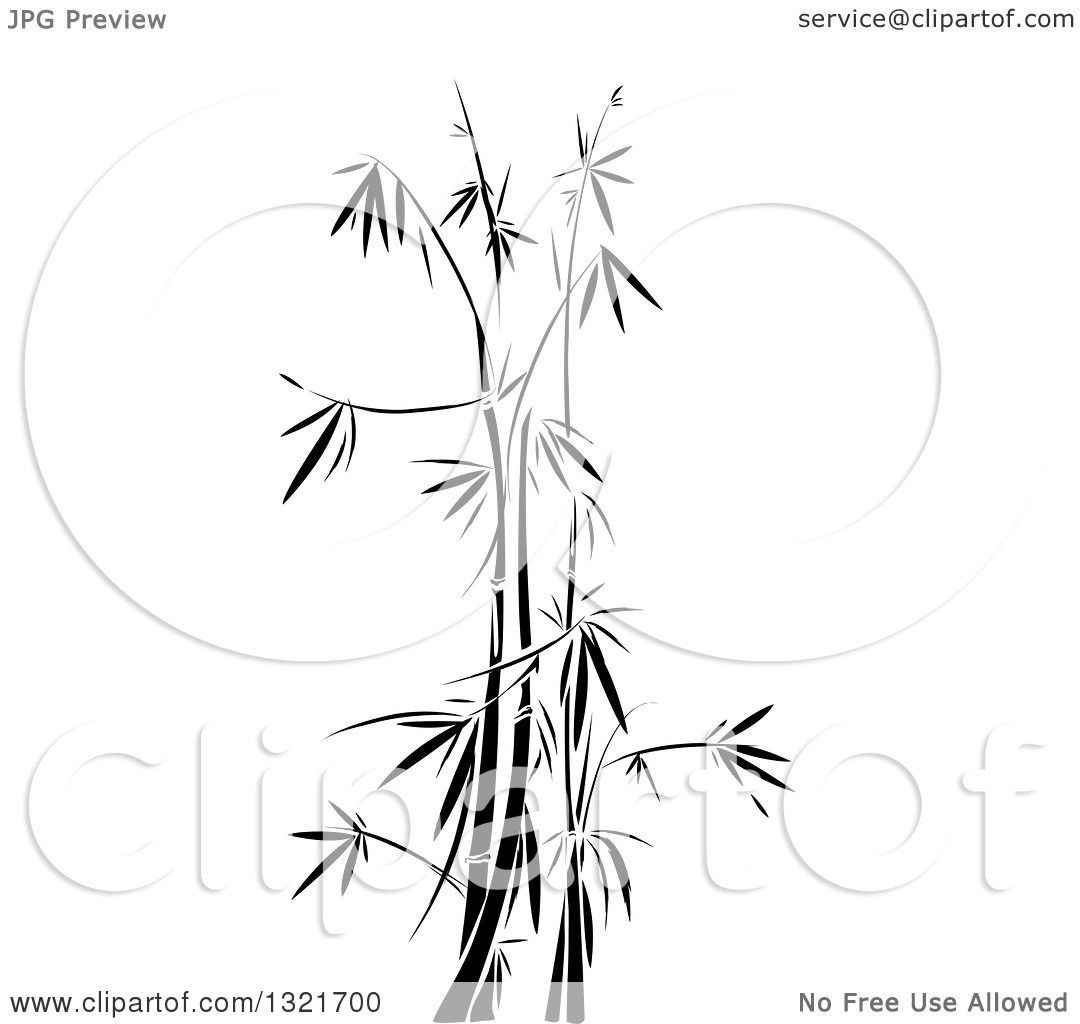 Clipart Of A Black And White Bamboo Stencil Background
