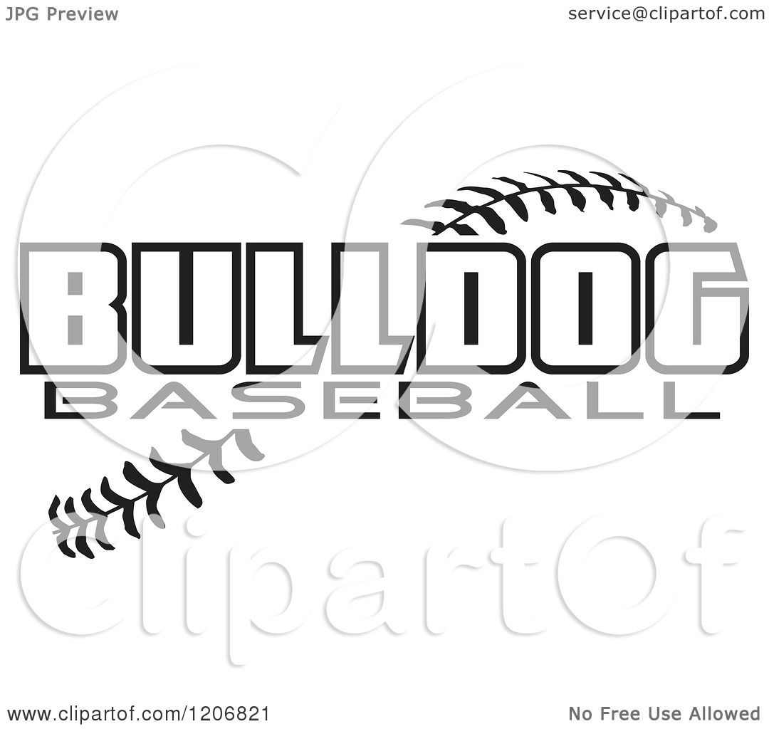Clipart Of A Black And White Baseball And Bulldog Team