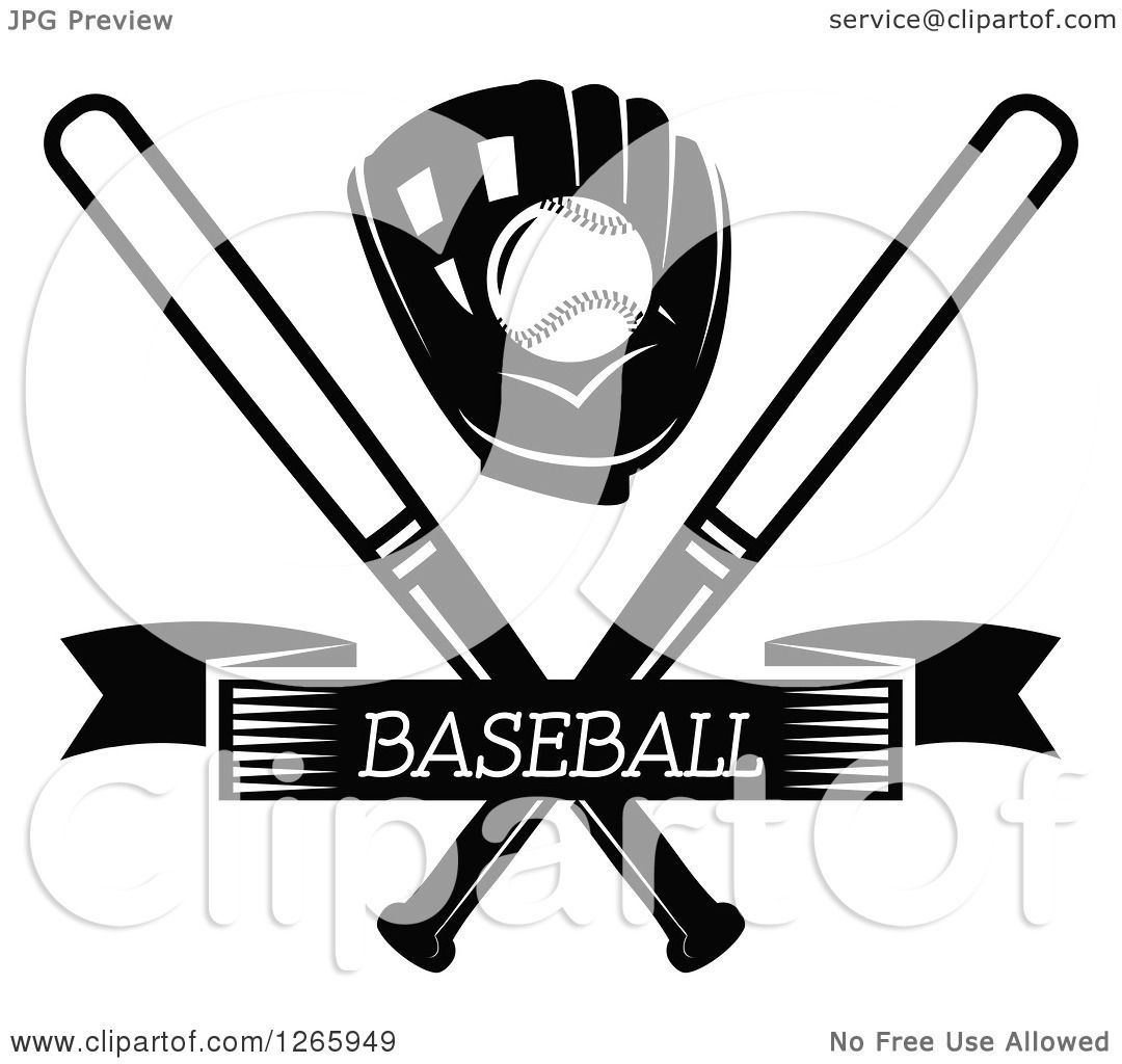 Download Clipart of a Black and White Baseball in a Glove over ...