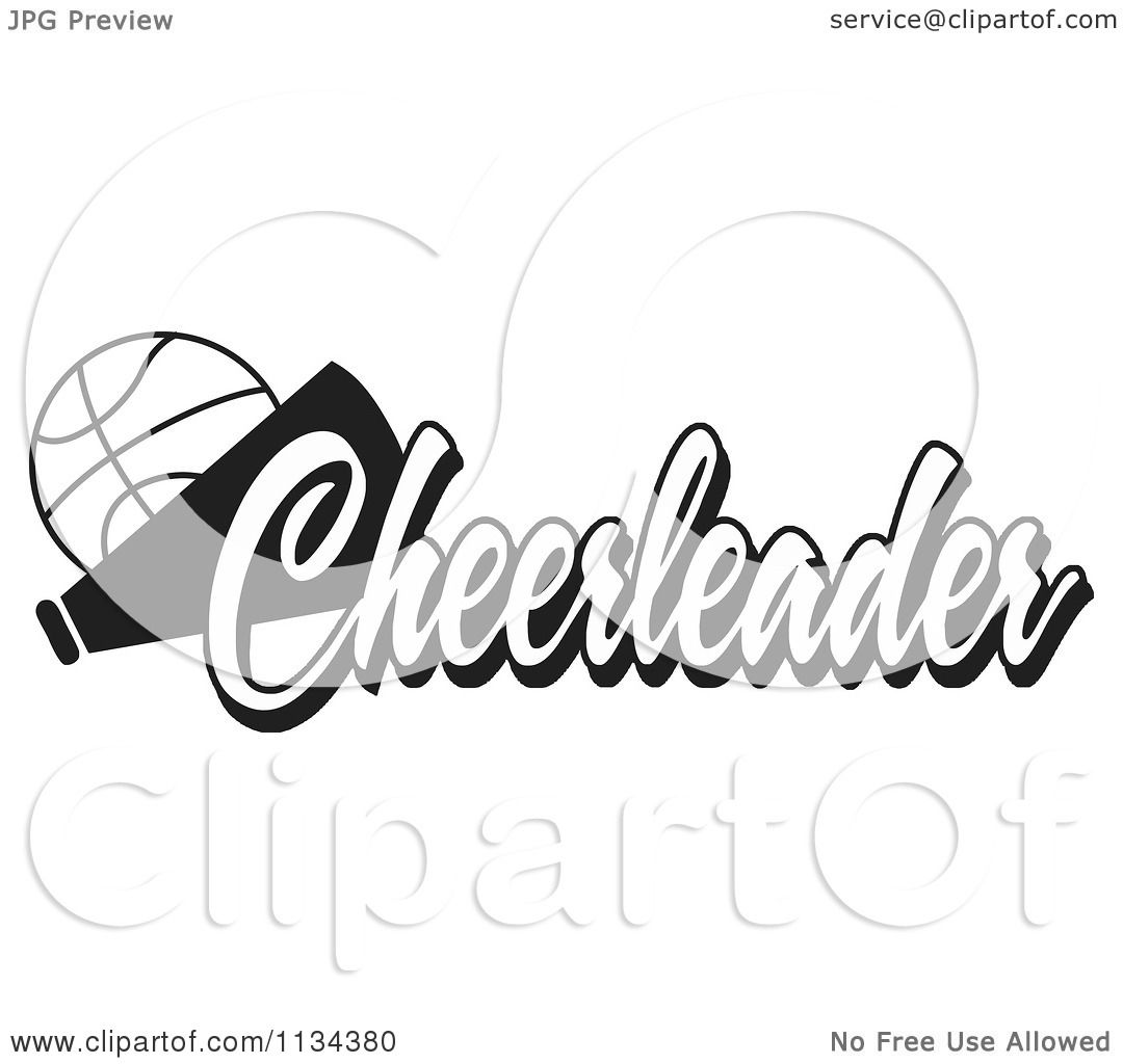 Clipart Of A Black And White Basketball Cheerleader Design