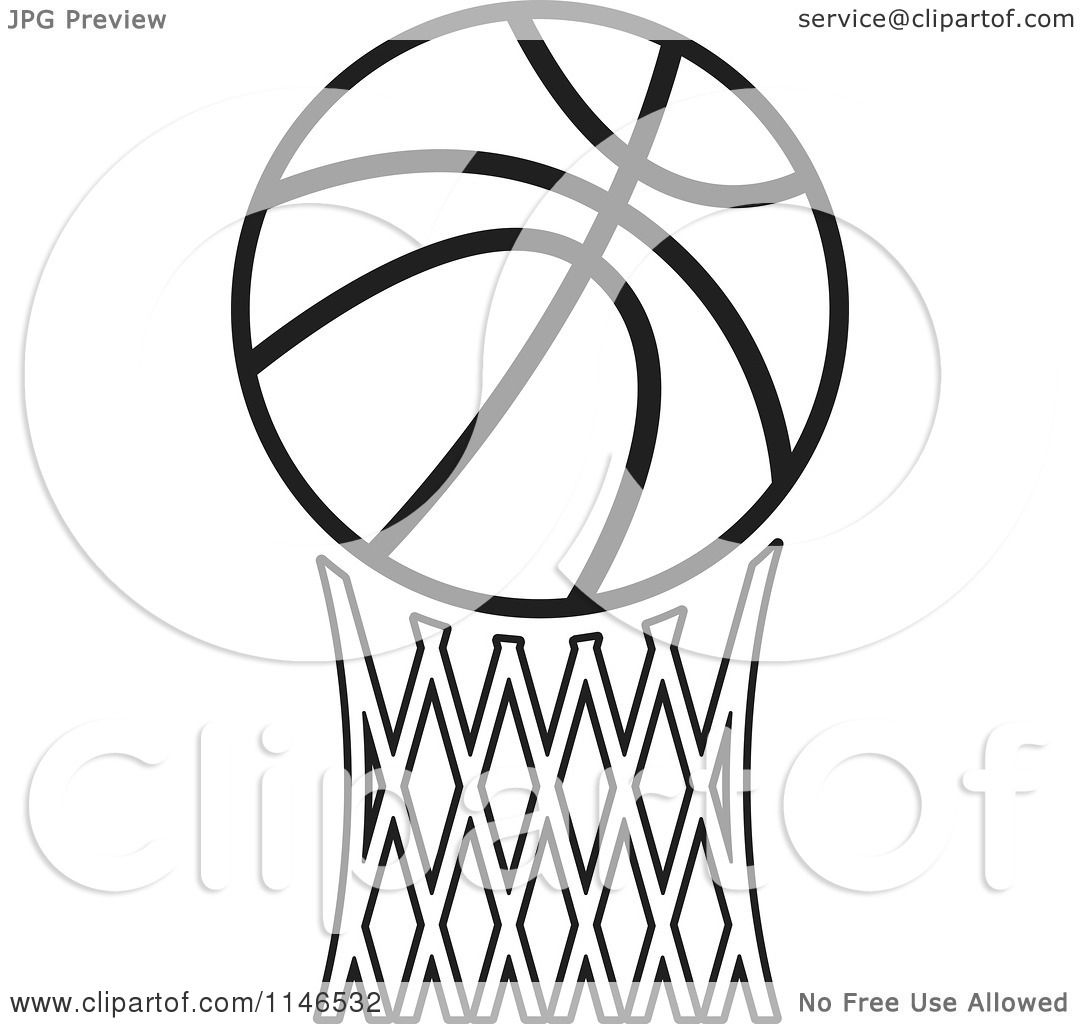 Clipart Of A Black And White Basketball Over Netting