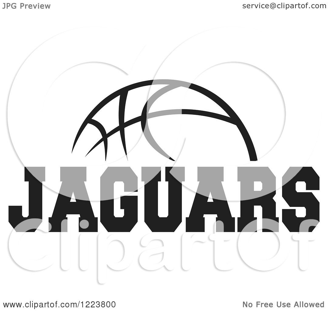 Clipart Of A Black And White Basketball With Jaguars Text
