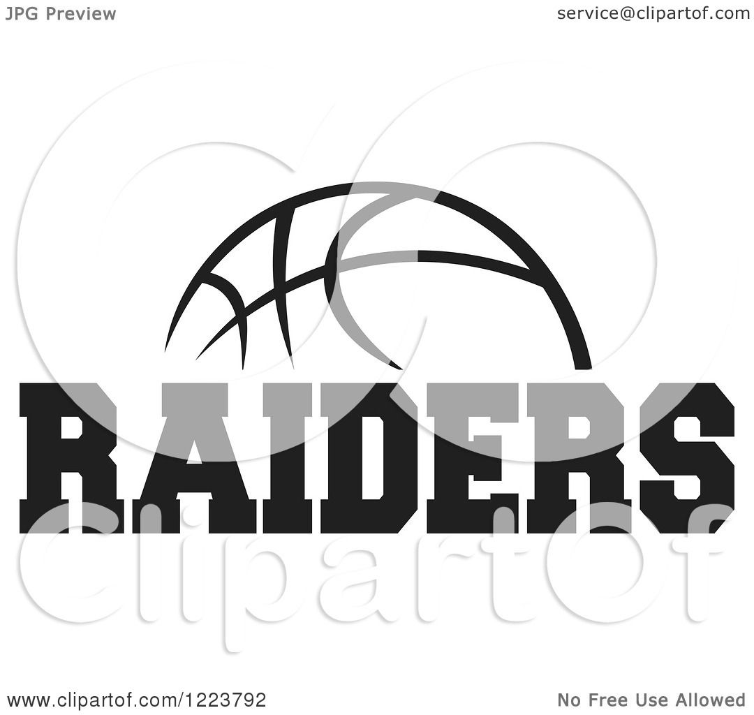Clipart Of A Black And White Basketball With Raiders Text