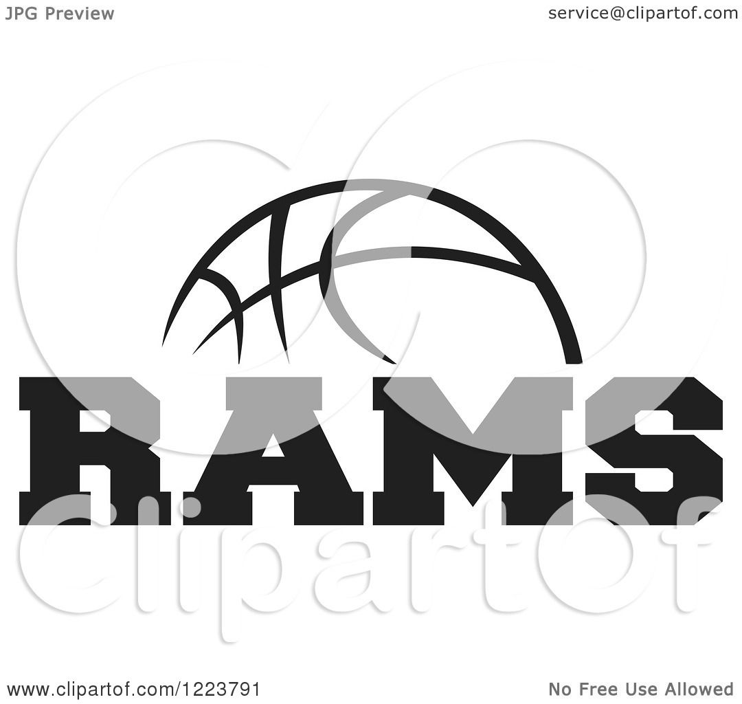 Clipart Of A Black And White Basketball With Rams Text