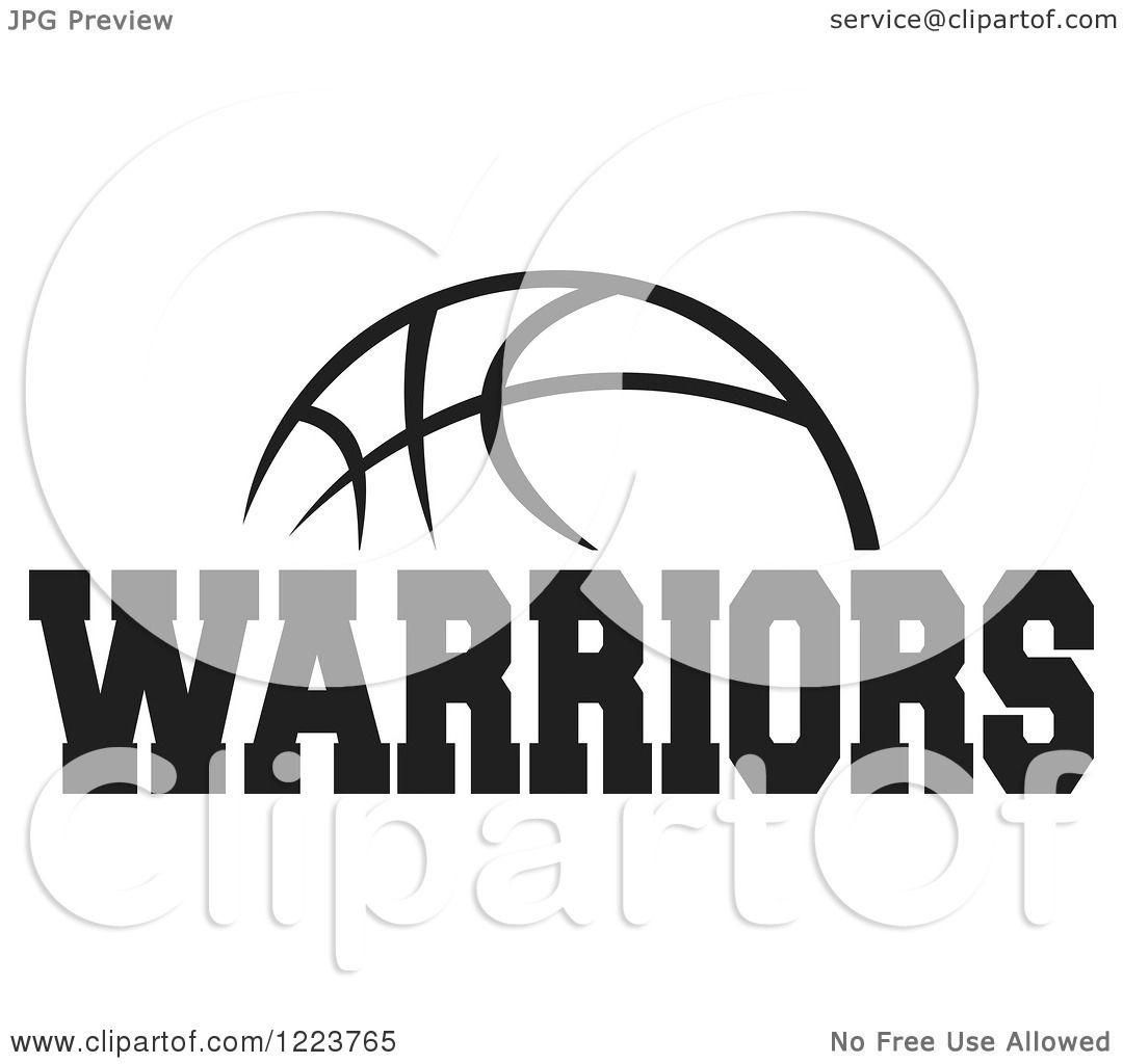 Clipart Of A Black And White Basketball With Warriors Text