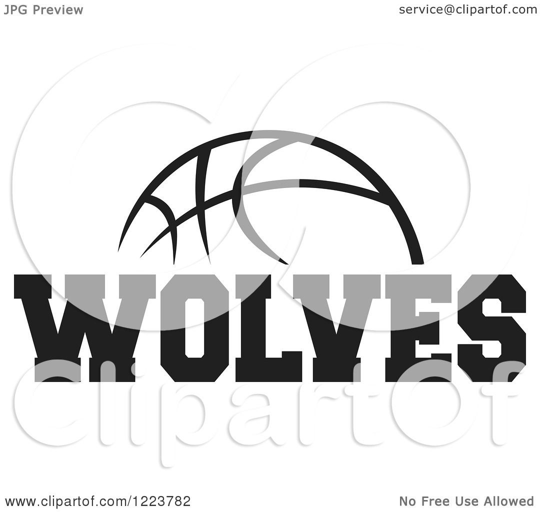 Clipart Of A Black And White Basketball With Wolves Text