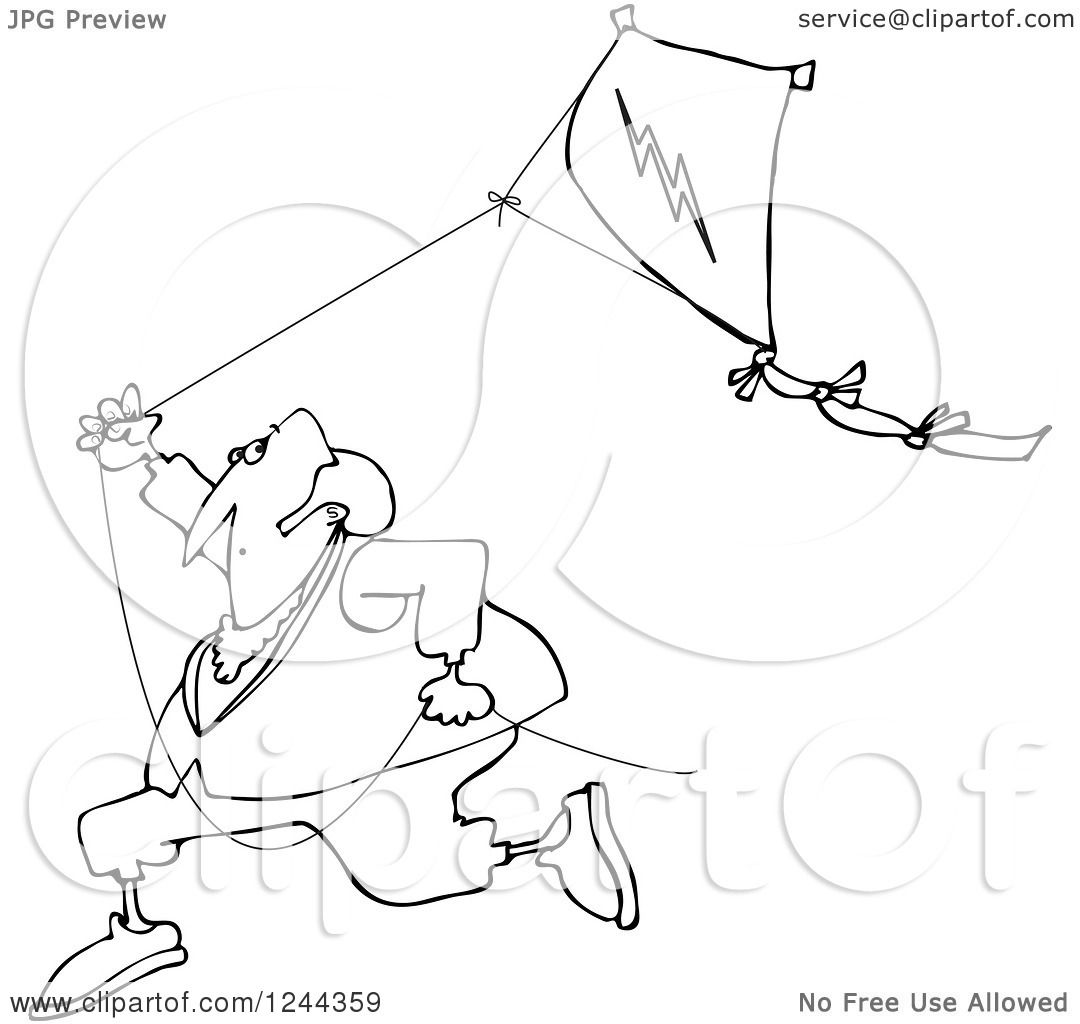 Clipart Of A Black And White Benjamin Franklin Running