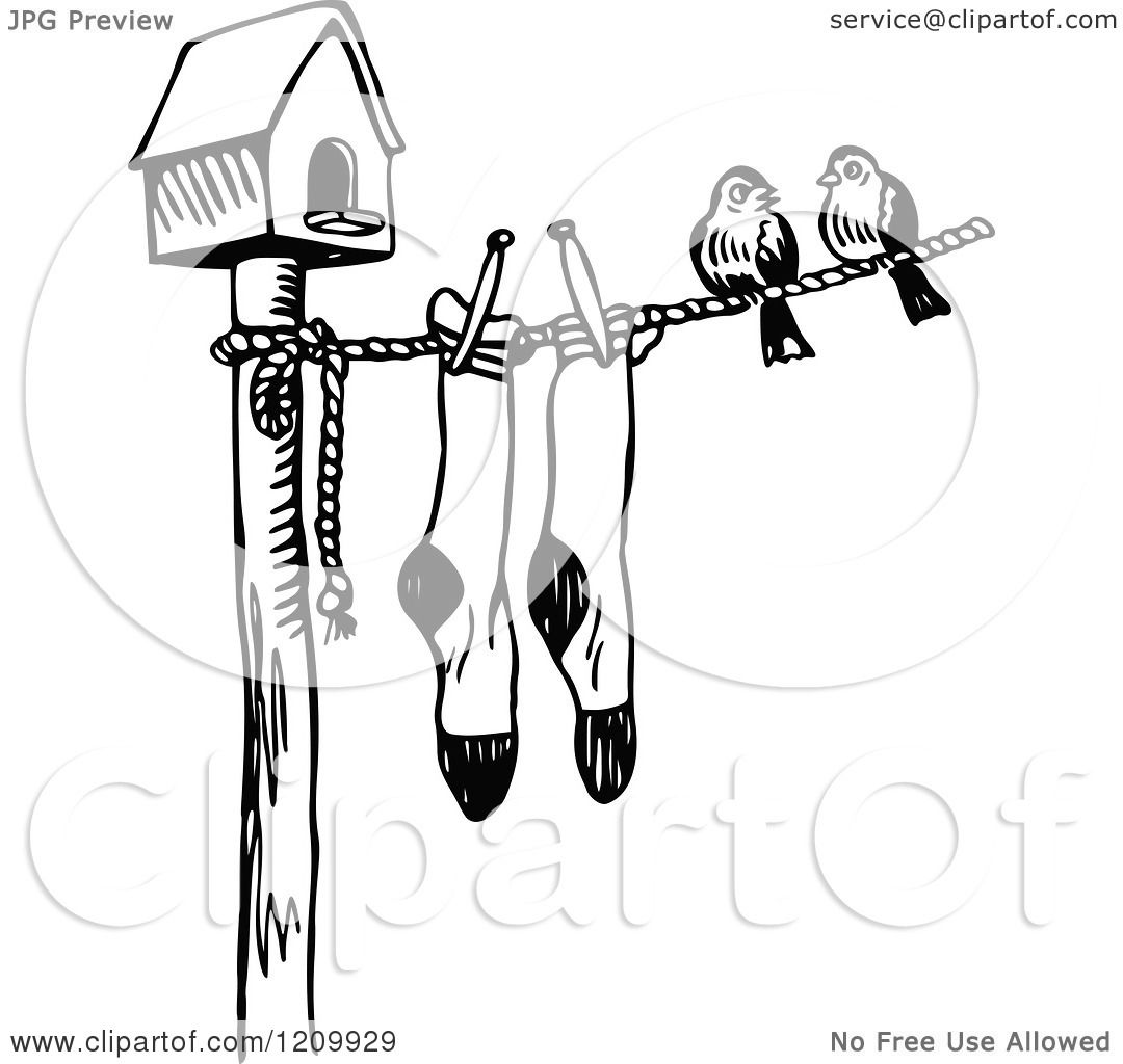 Clipart Of A Black And White Bird House With Birds And