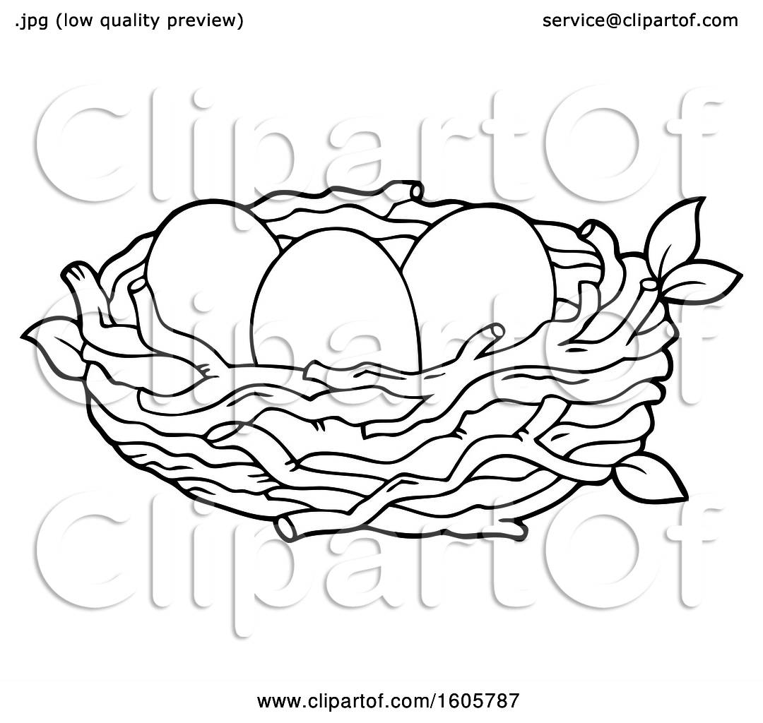 Clipart Of A Black And White Bird Nest With Eggs