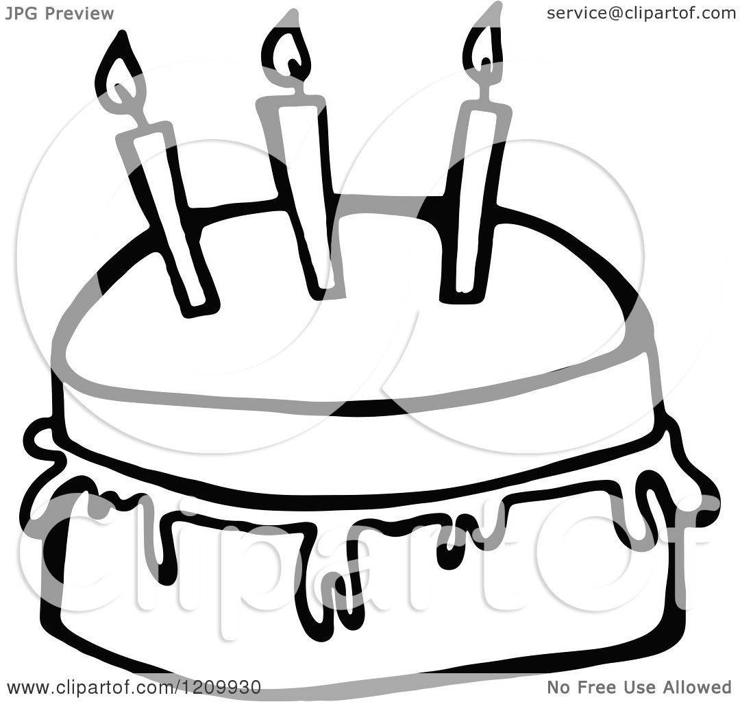 Clipart Of A Black And White Birthday Cake With Three