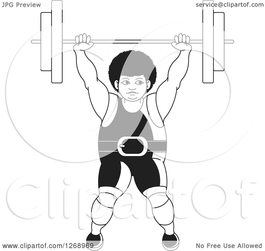 Clipart Of A Black And White Bodybuilder Woman Lifting A