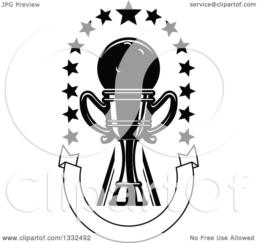 Clipart Of A Black And White Bowling Ball In A Trophy With
