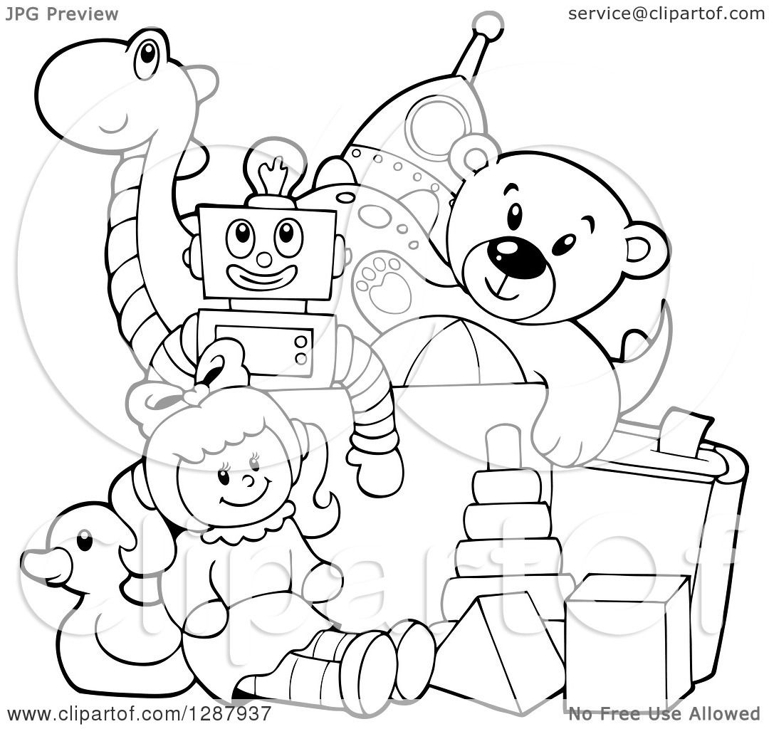 Clipart Of A Black And White Box Of Toys