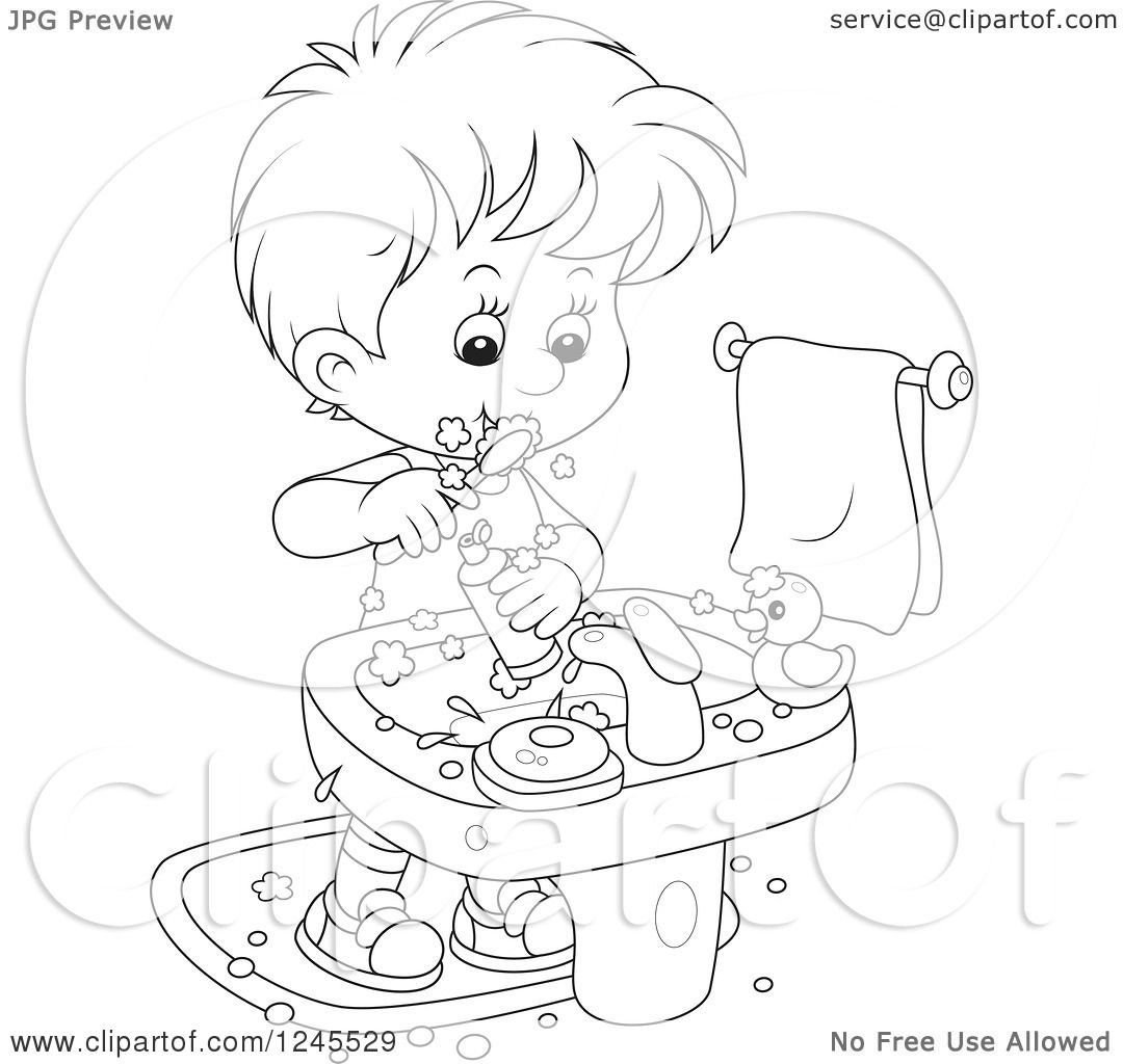 Clipart Of A Black And White Boy Brushing His Teeth In A