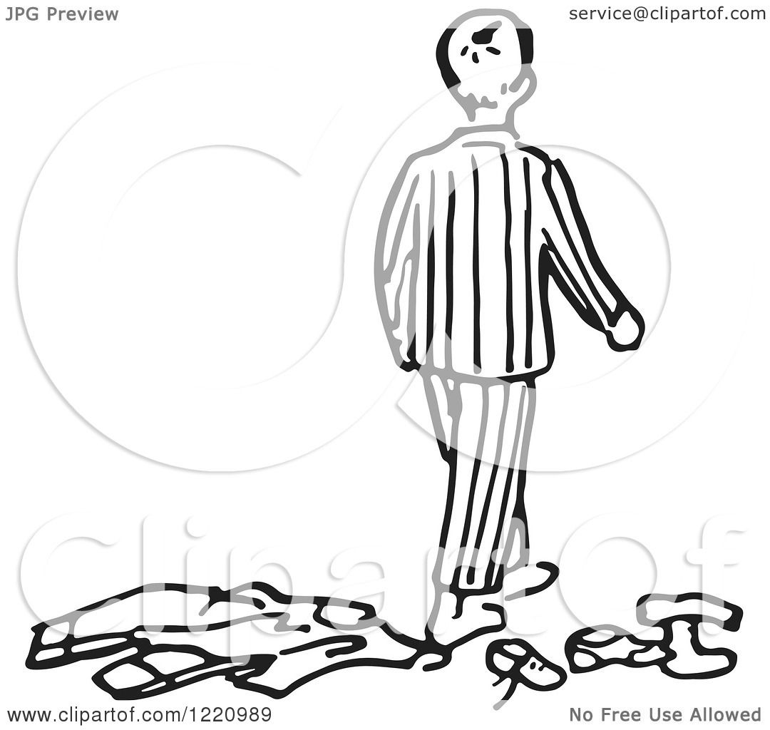 Clipart Of A Black And White Boy In Pjs Walking Away From Clothes