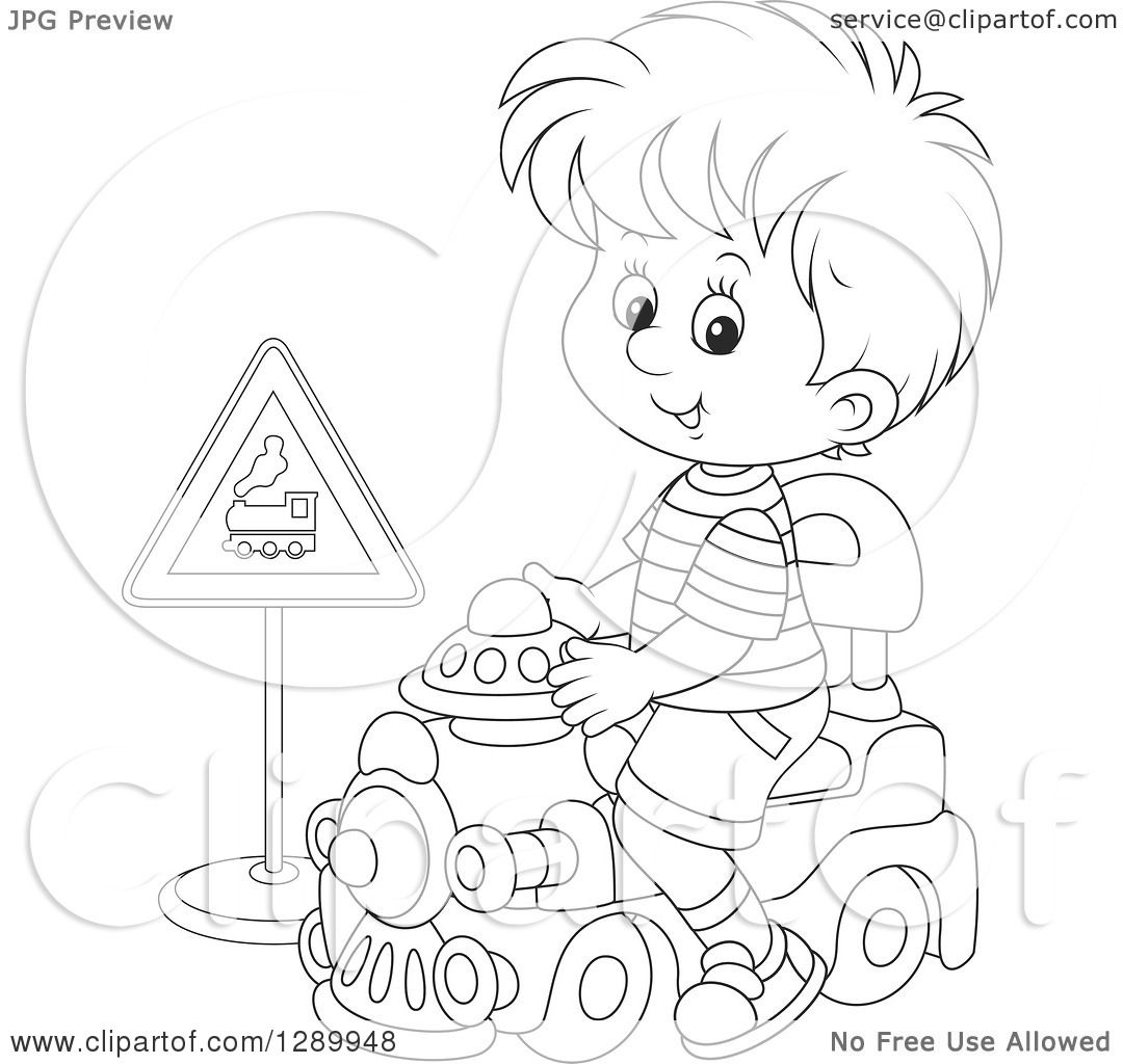 Clipart Of A Black And White Boy Playing And Riding A Toy