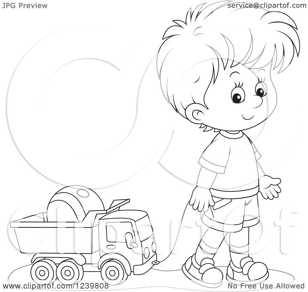 Clipart Of A Black And White Boy Playing With A Dump Truck