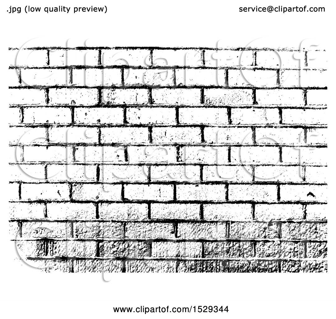 Clipart Of A Black And White Brick Wall Background