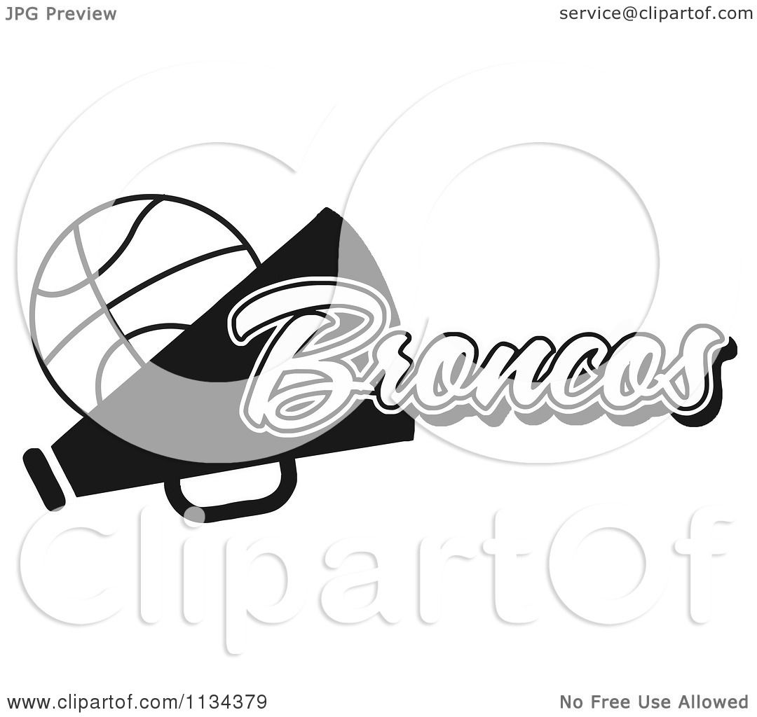 Clipart Of A Black And White Broncos Basketball