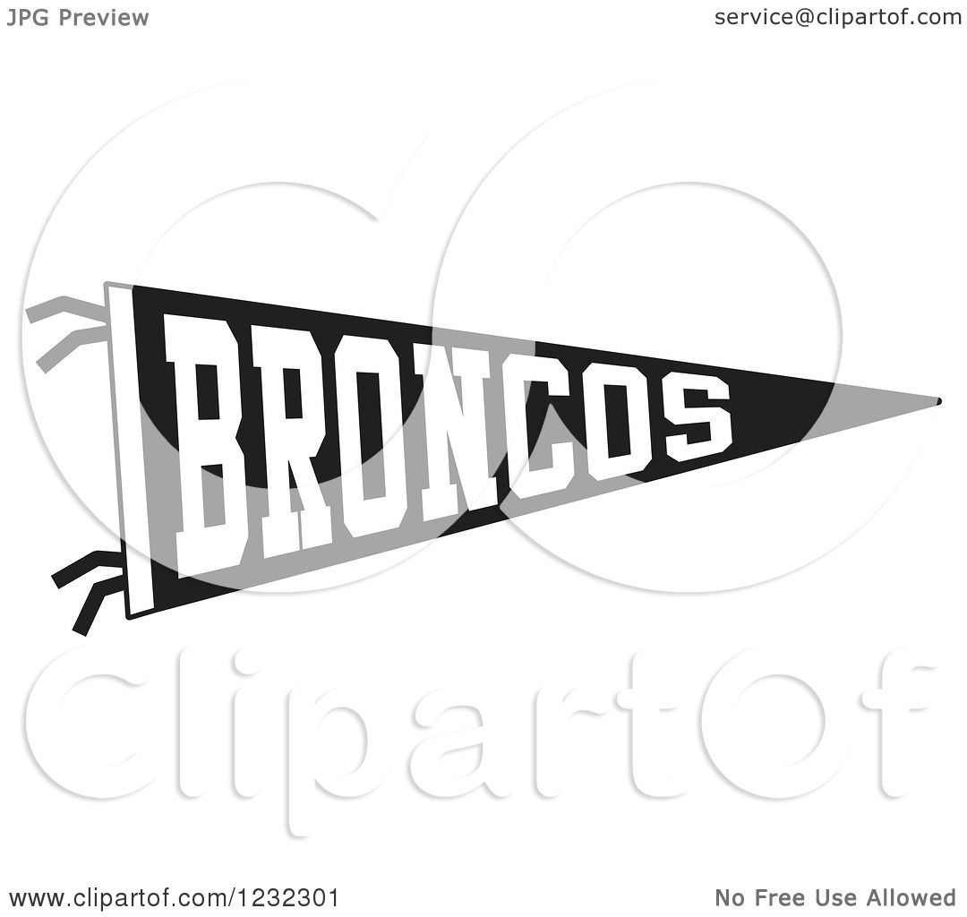 Clipart Of A Black And White Broncos Team Pennant Flag