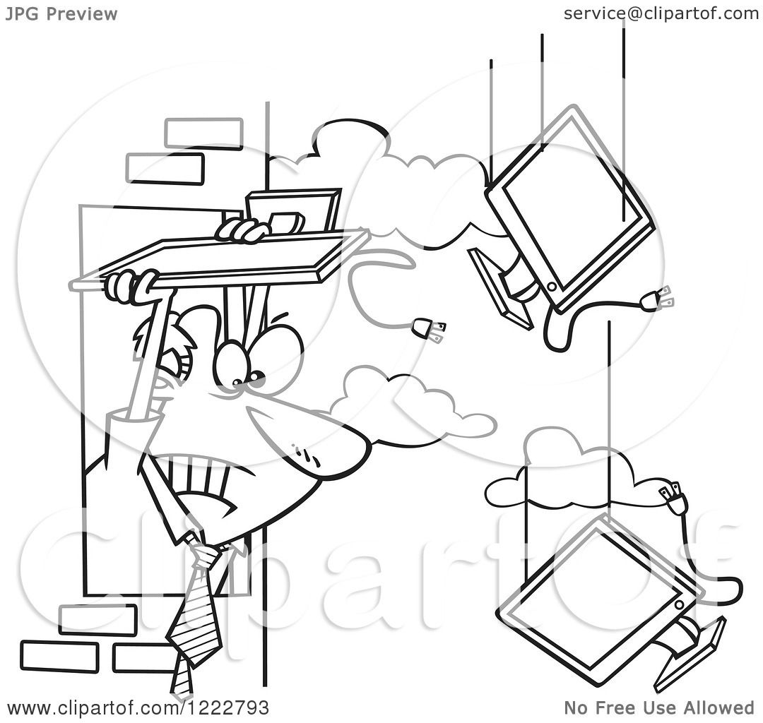 Clipart Of A Black And White Businessman Throwing Old