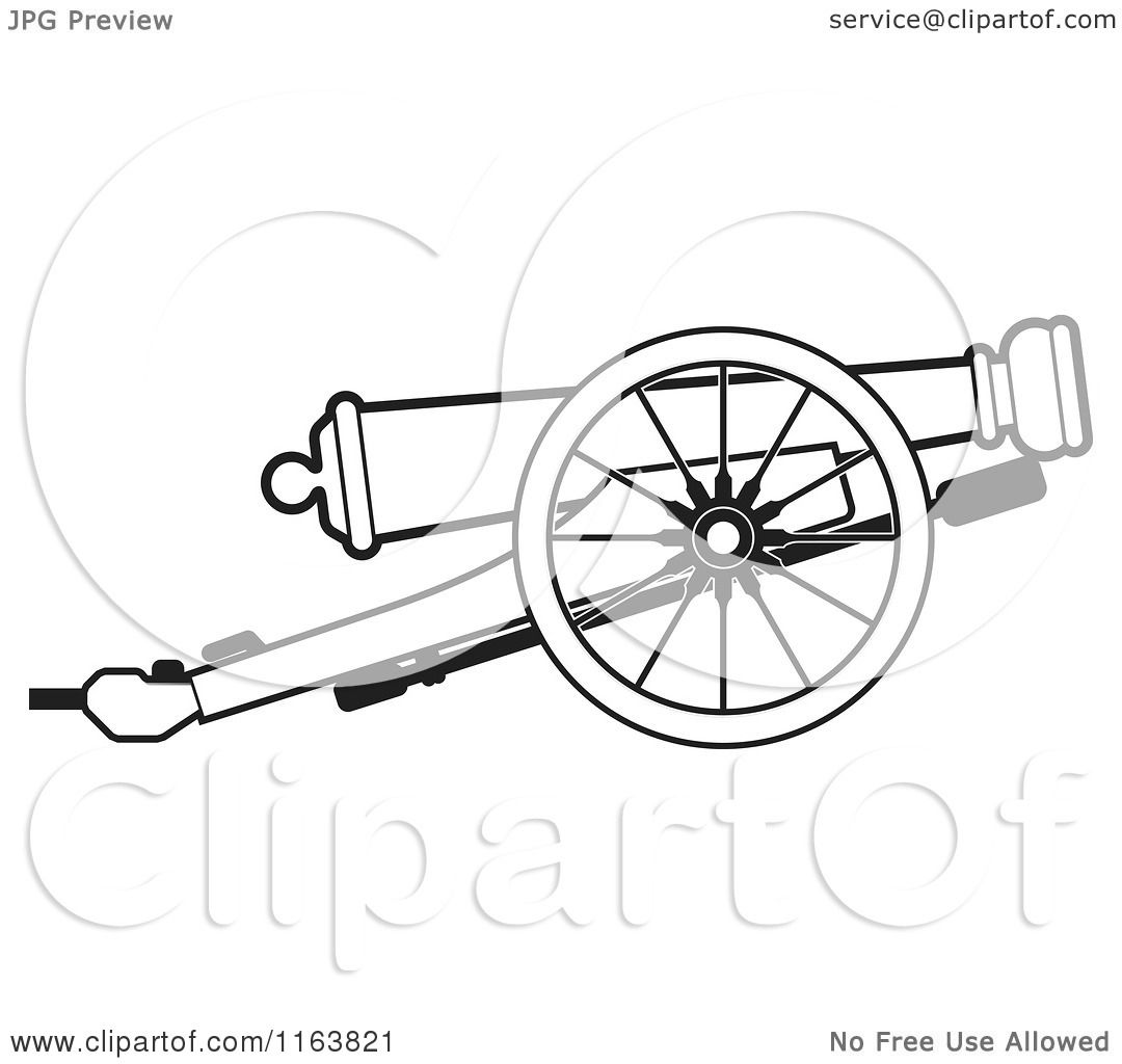 Clipart Of A Black And White Cannon Gun