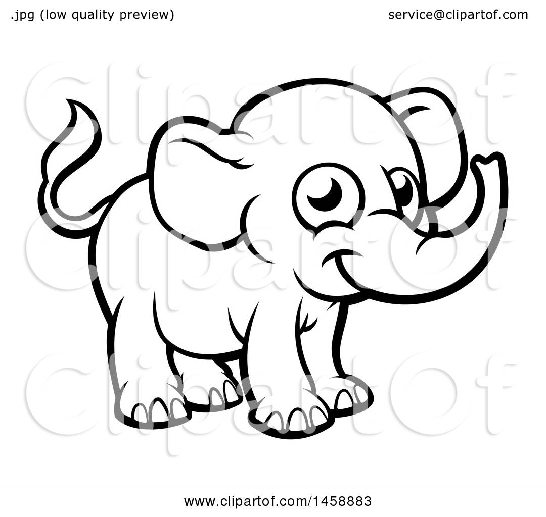 Clipart Of A Black And White Cartoon Baby Elephant