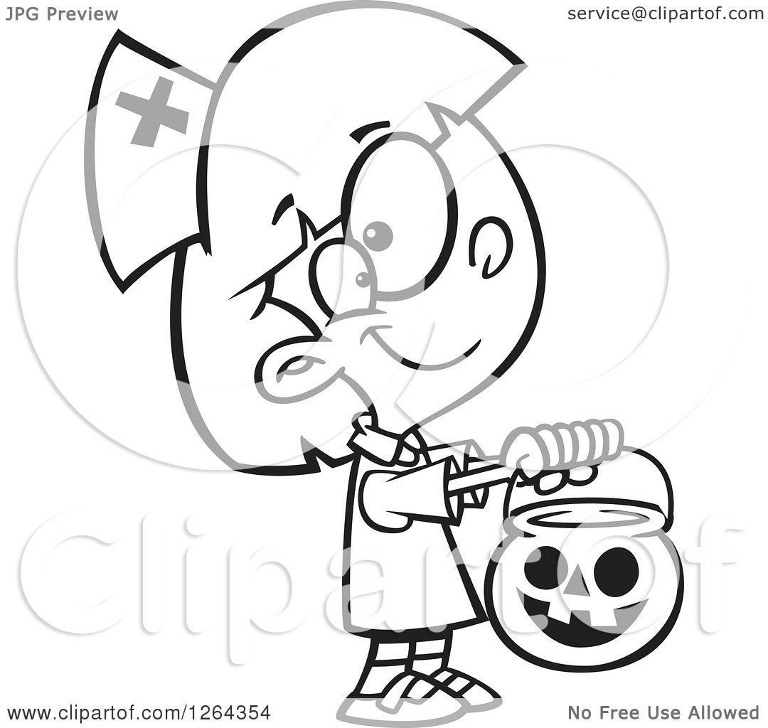 Clipart Of A Black And White Cartoon Girl Trick Or