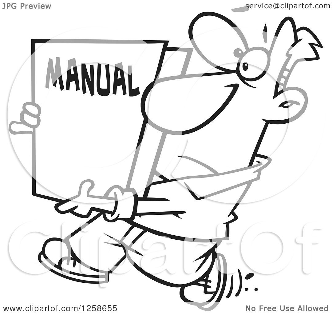 Clipart Of A Black And White Cartoon Man Carrying A Big