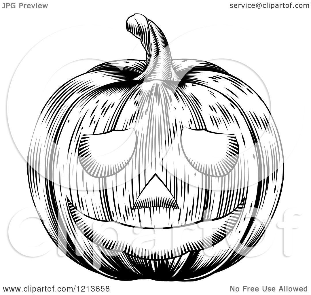 Clipart Of A Black And White Carved Halloween Woodcut