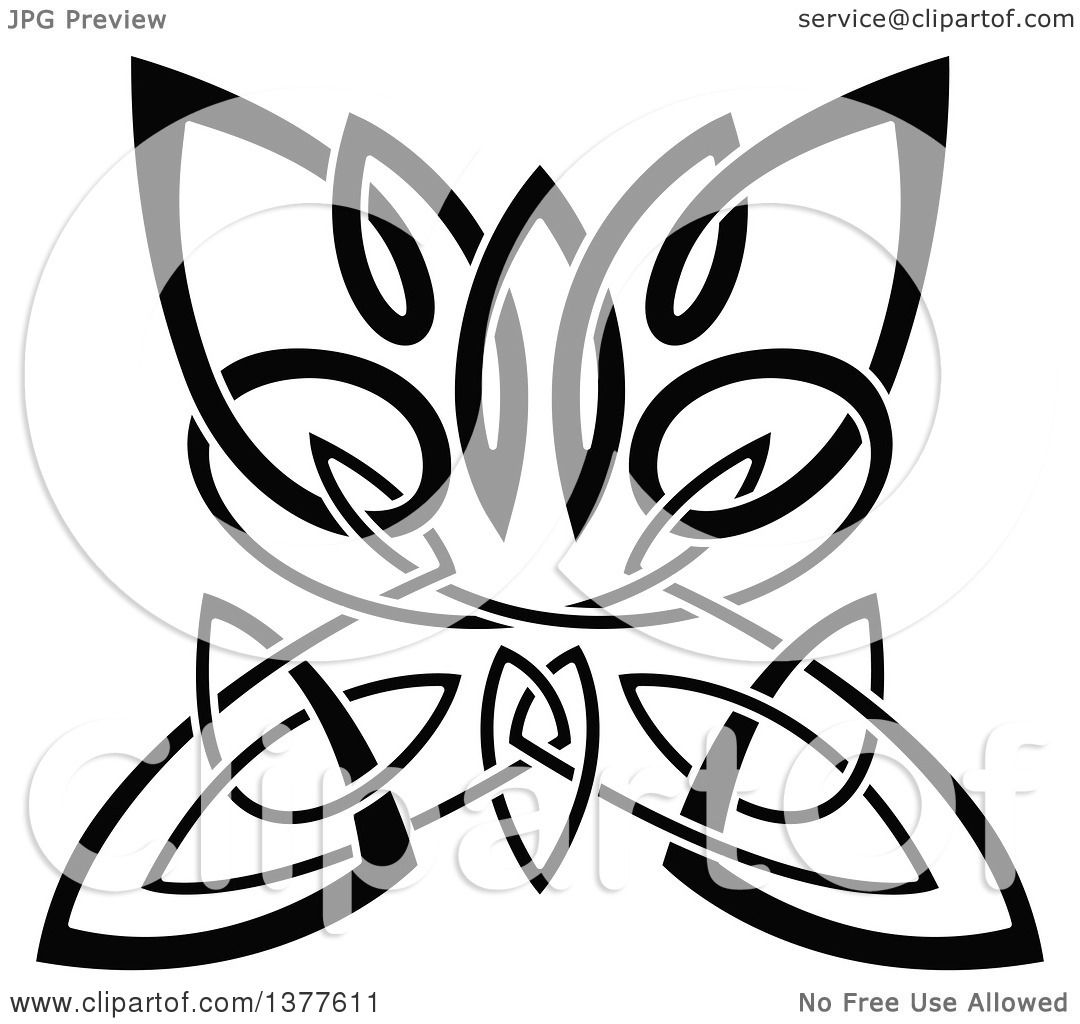 Clipart Of A Black And White Celtic Knot Butterfly