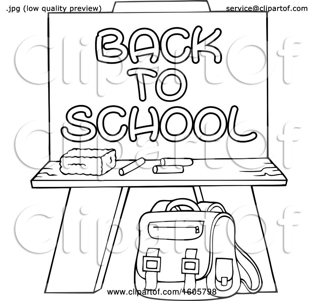 Clipart Of A Black And White Chalkboard With Back To