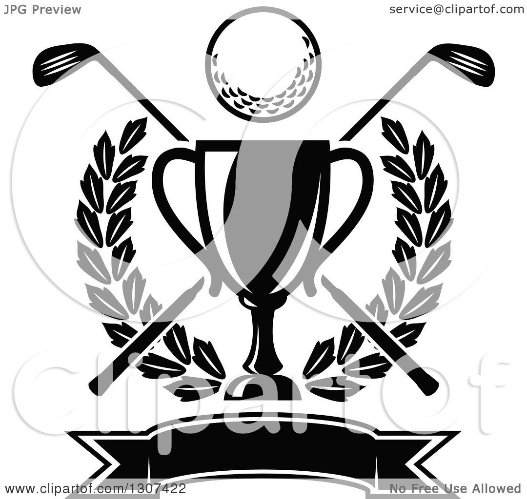Clipart Of A Black And White Championship Trophy With A