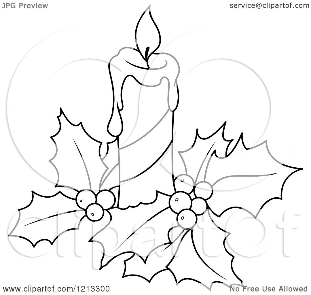 Clipart Of A Black And White Christmas Candle And Holly