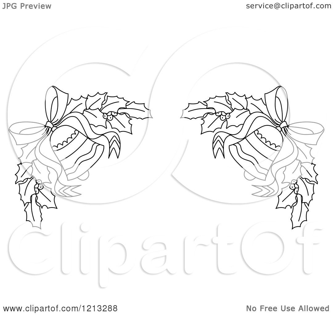 Clipart Of A Black And White Christmas Holly And Bells