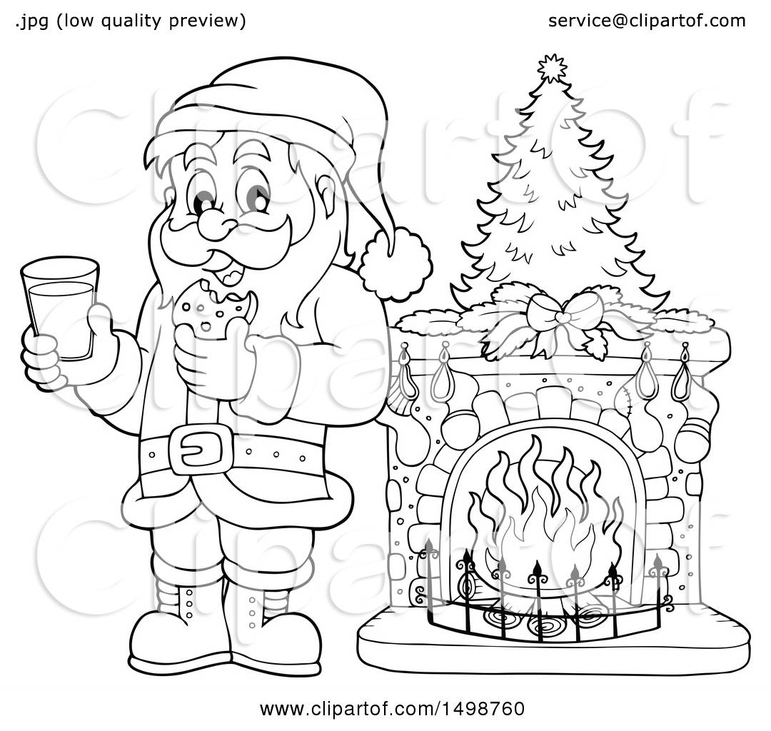 Clipart Of A Black And White Christmas Santa Claus