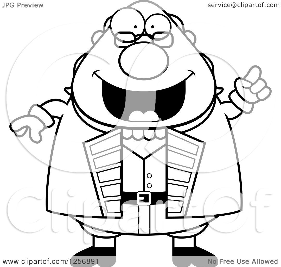 Clipart Of A Black And White Chubby Benjamin Franklin With