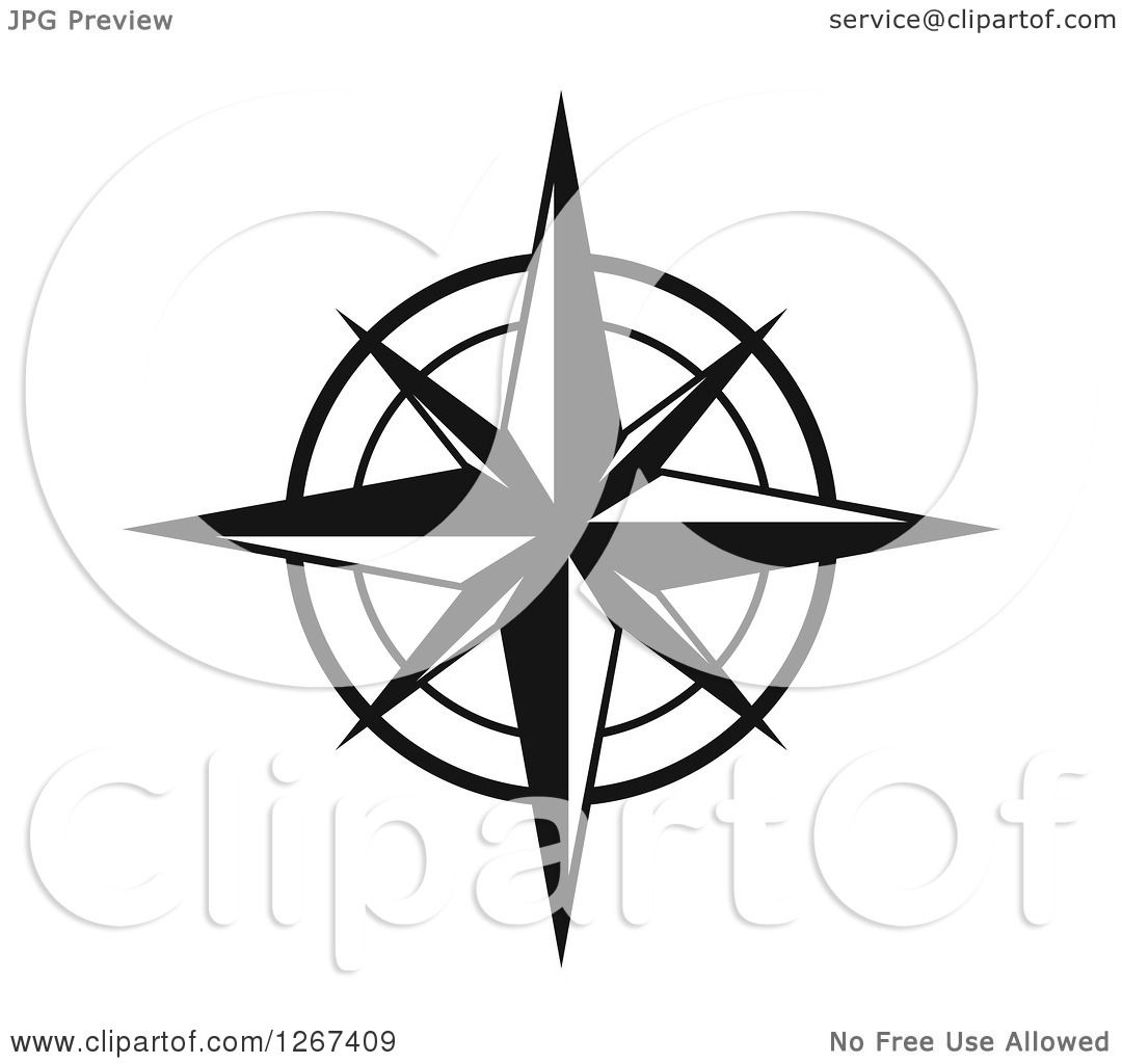Clipart Of A Black And White Compass Rose